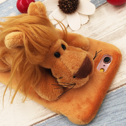 cute plush Animal Stand lion iphone6,iphone6s, iphone6plus,iphone6splus cases covers accessories smart phone cases phone skins