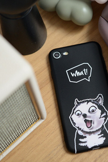 Phone case cute funny husky dog black Animal Tumblr iphone 6,6s,6plus,6s plus,7,7plus,8,8plus,Xcases covers accessories smartphone cases phone skins