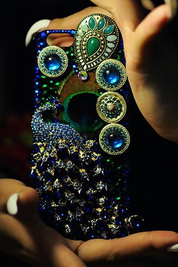 Phone case luxury Color diamond handmade bling Animal Peacock art iphone5/5s/6/6s/6plus/6splus cases covers accessories smart phone cases phone skins